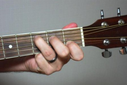 C chord being fingered on the guitar