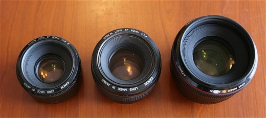 From Left to Right: 50mm 1.8, 50mm 1.4, 50mm 1.2