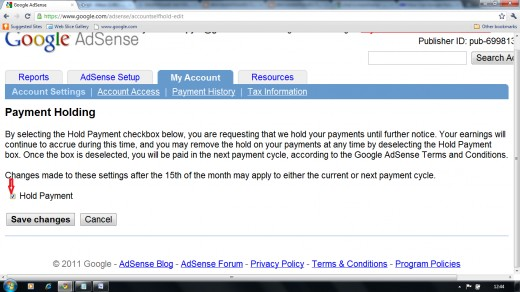 Image which shows hold payments check box