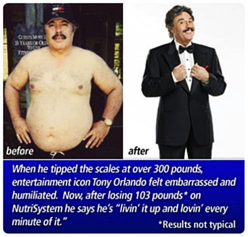 Entertainer Tony Orlando lost 103 lbs on Nutrisystem, source: Nutrisystem