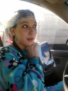 Died my hair at a car wash, yes I am in my car. ^_^