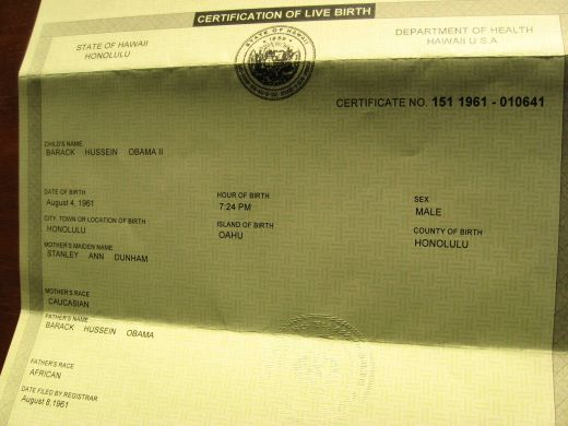 President Obama's Birth Certificate.  It is real. Or every person in Hawaii is not an American born person.  This is what they give everyone.