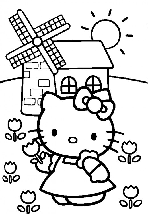 cute hello kitty colouring pages. Cute Hello Kitty Coloring