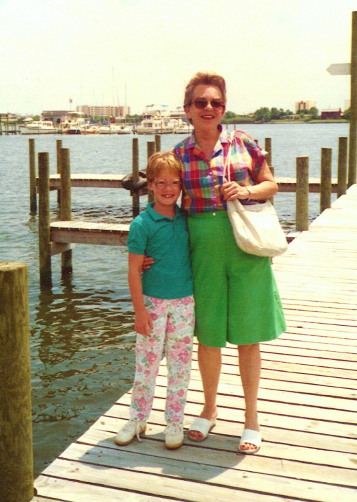 My mother and young niece on a pier at Fort Walton Beach