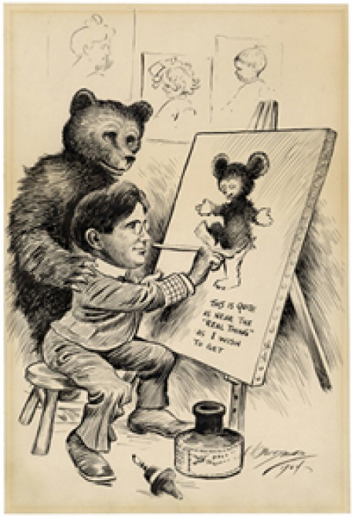 The original cartoon showed the bear in proportion to Teddy's size, but each subsequent cartoon that came out they made the bear smaller and smaller until it was smaller than Teddy