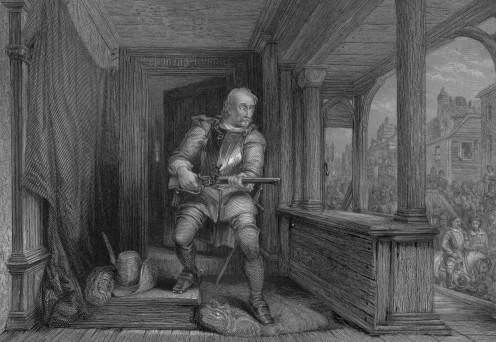 James Hamilton preparing to shoot the Regent Earl of Moray. Image via Wikipedia