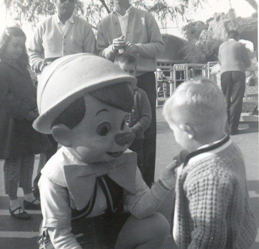 Pinocchio and a guest in Disneyland 1965