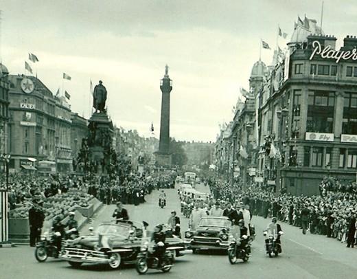 President John F Kennedy motorcade on the streets of Dublin 1963