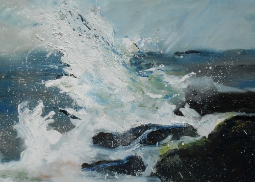 Wave, Monifieth.(Scotland) Oil on paper. Textured using mostly blending and splattered impasto techniques.