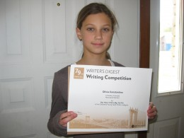 Olivia wins a writing award from Writers Digest 2010