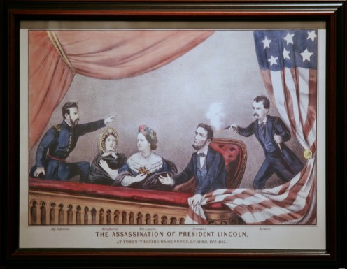 Assassination of Abraham Lincoln From left to right: Major Henry Rathbone, Clara Harris, Mary Todd Lincoln, Abraham Lincoln, and John Wilkes Booth. Currier and Ives print via Wikipedia