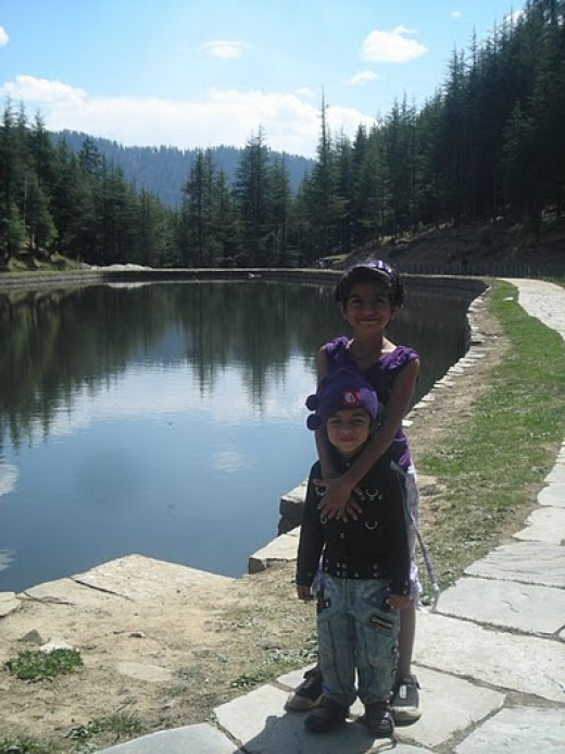Kids enjoying the scenic beauty of Tani Jubbar Lake in Thanedar.