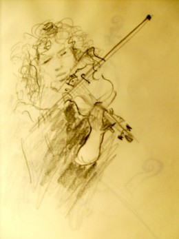 Pencil sketch, from one of my sketch books. You have to work quickly to capture a musician's movement, but it's great practice!