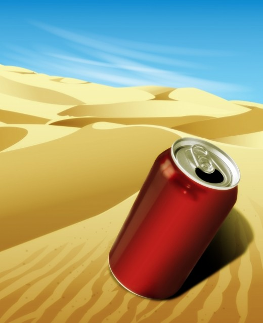 2D illustration of a drinks can in the desert