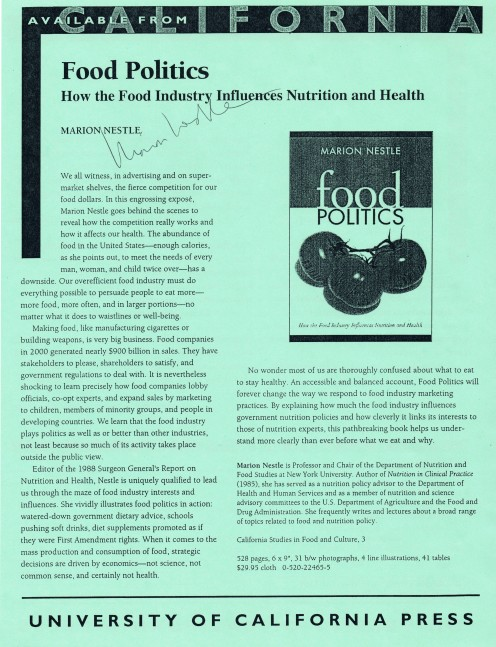 Marion Nestle is known for her battles with the food industry and advocacy for nutritious food for all.