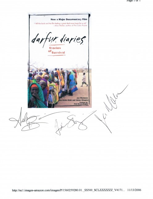 I secured them on November 13, 2006 at a discussion about their experiences talking with refugees in Chad and Sudan.