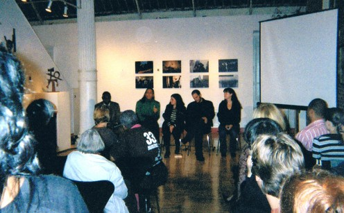 In front of a huge crowd, the discussion took place in the Pomegranate Gallery in SoHo.