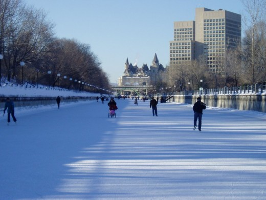 In Winter the Rideau Canal.This picture is showing a portion of the world's largest skating rink.