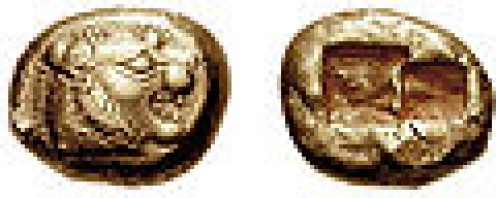 Early 6th century BCE Lydian electrum coin (one-third stater denomination).