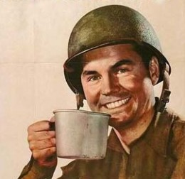 If I was betting I would say this GI was enjoying a cup of jo full strength, not decaf.
