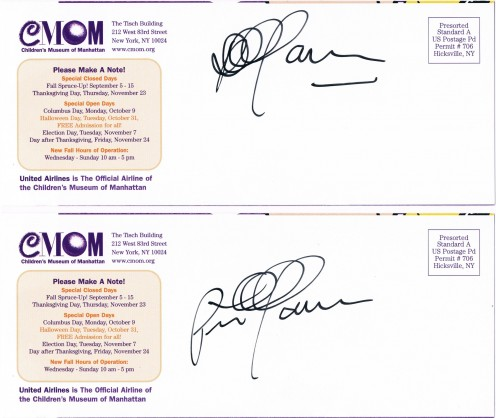 """Shown are the autographs of renowned singer Peter Yarrow of the folk group Peter, Paul & Mary, secured at a  fundraiser for his organization, Operation Respect, created """"to assure each child a respectful, safe and compassionate climate of learning."""""""