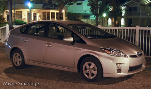 The 2010 Toyota Prius Hybrid at midnight.