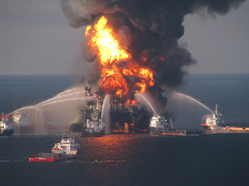 The Deep Horizon Oil Rig Burns In The Gulf Of Mexico
