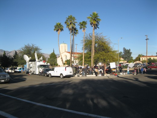 Reporters camped out by entrance to vigil area in front of University Medical Center in Tucson, AZ