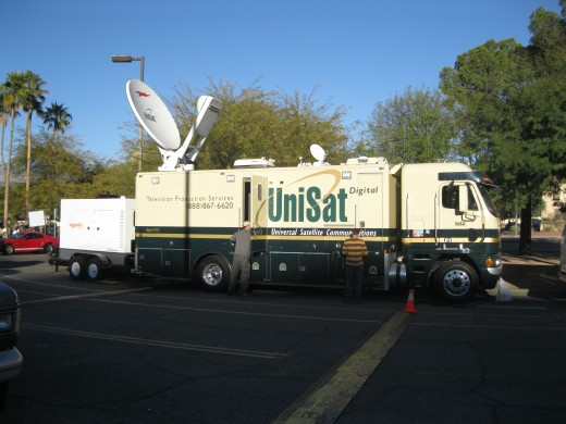 Truck with Satellite broadcast equipment in front of University Medical Center in Tucson, AZ