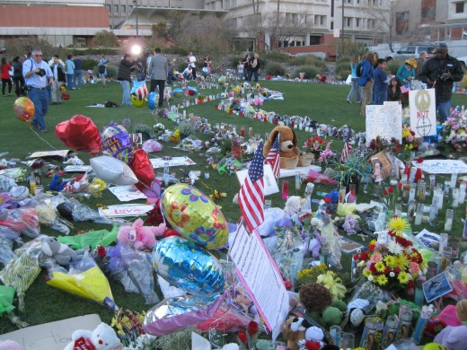 Items left by well wishers for Representative Gabrielle Giffords