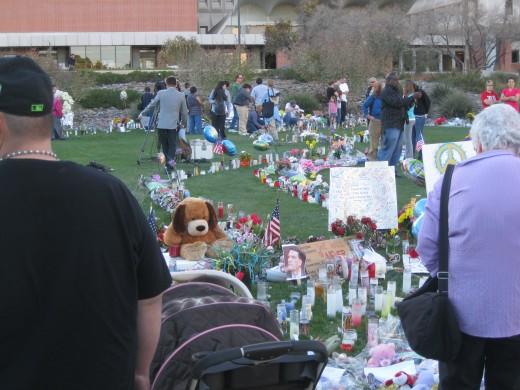 Impromptu memorial to Representative Gabrielle Giffords