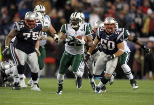 Shonn Greene -Divisional Playoff game against the New England Patriots Foxboro, January 16, 2011. (Kirby Lee/NFL)
