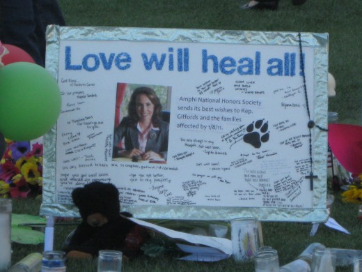 Love will heal all message for Rep Gabrielle Giffords