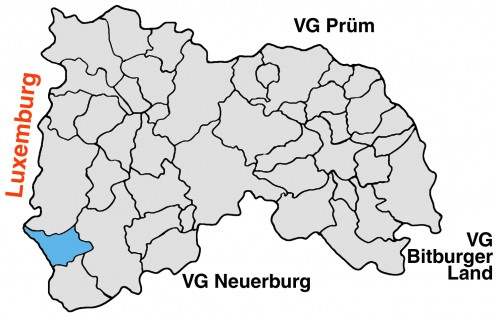 Map location of Dasburg on the border with Luxembourg