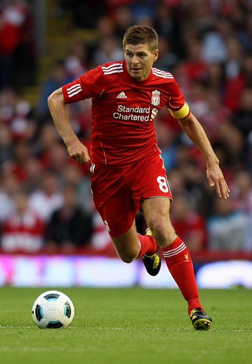 Liverpool's captain Steven Gerrard in the new liverpool home kit.