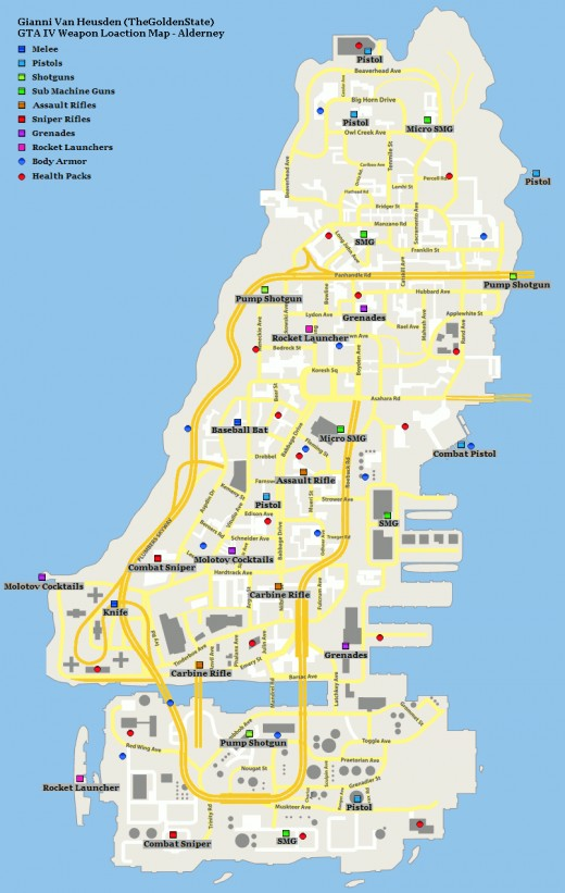 GTA 4 - PC Cheats, Maps and Weapons Gta Iv Weapon Map