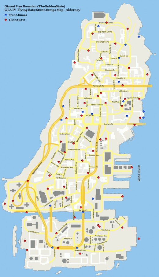 Alderney Pigeon and Jump Locations Map