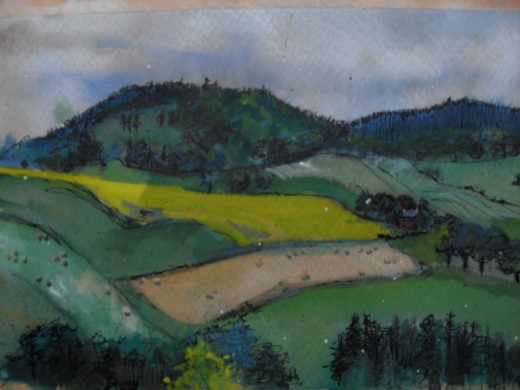 Strathearn landscape. Watercolour sketch on toned paper. (See map below)