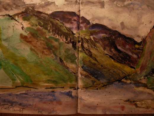 Turret Dam. A watercolour sketch across two pages of my sketch book.(See map below)