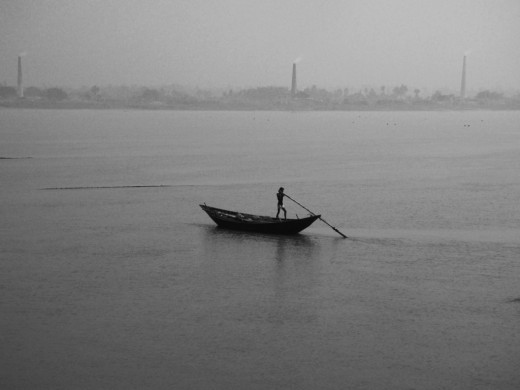 A lonely boat in  Ganga