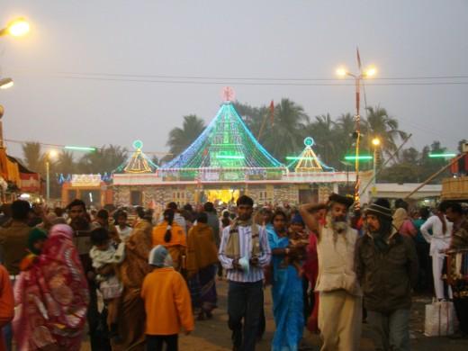 Kapil Muni temple at dusk