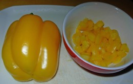 Step 19 - Chop up yellow pepper