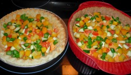 Step 30 - Distribute yellow squash on each pie