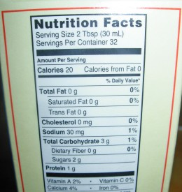Step 41A - Nutrition Label on Fat Free Half & Half