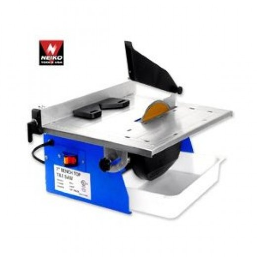 "Pro-Grade 7"" Bench Top Wet Tile Saw - 1/2 HP 3600 RPM."