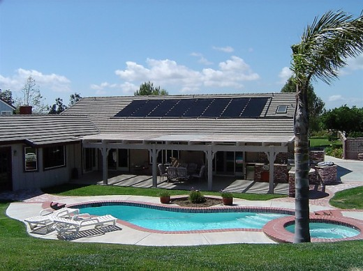 Here is an example of a solar hot water heater being used to heat water for a pool.