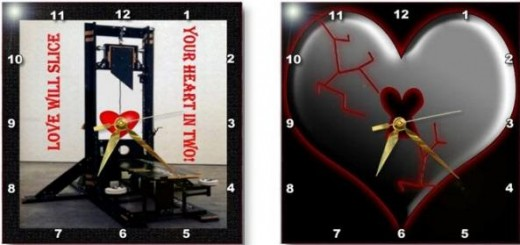 Has your heart been sliced in two? Are you feeling down because the one you love broke your heart? Send your Ex the heart they deserve on these fun wall clocks. The link for these are shown in the clock photo below.
