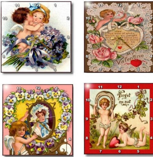Great gift idea with these darling clocks. They are available under Sandy Mertens Vintage Valentine Designs Wall Clock on 3drose. The link is shown above in the first photo of clocks.