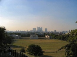 Greenwich Park looking towards Canary Wharf