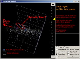 "Scene from ""Stars in the NeighborHood"" software showing the ""spur of the galaxy."" The view is from the software's ""Zoom Out Universe"" feature. www.SpaceSoftware.Net"